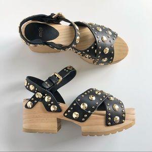 Maje Black Leather Gold Studs Wood Clog Sandals 37